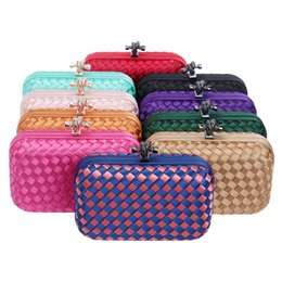 Wholesale Chain Weave Bag - Wholesale-Hot Selling Candy Color Wove evening bag and clutches shoulder day Clutches With Chain For Women Evening Bags