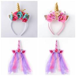 Wholesale Horns Costume - Rainbow Unicorn Rabbit Ear Headband Spiral Unicorn Horn Infant Sequins Hair Bands Cosplay Party Costume Headwear 120pcs OOA3400