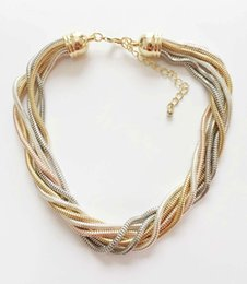 Wholesale Multi Row Necklaces - Hot Snake Chain Braided Necklace Multi Colours 7 Rows Twisted Snake Chain Choker Necklace Classic Original Design Jewelry Prebeauty