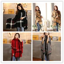 Wholesale Top Tartan Scarf - Plaid Poncho Scarf Tassel Fashion Wraps Women tops Vintage Knit Scarves Tartan Winter Cape Grid Shawl Cardigan Blankets Cloak Coat Sweater