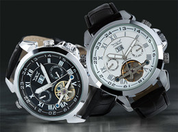 Wholesale Jaragar Automatic Dive Watch - 2017 JARAGAR men leather watch golden number mechanical dive mens date automatic watches luxury sport Wristwatches