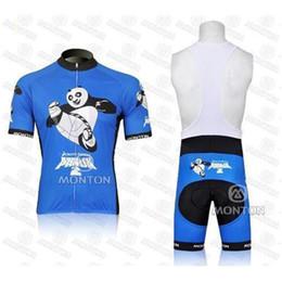 Wholesale Monton Cycling Bib - new style monton team panda cycling jersey blue florida with Short Sleeve Bodysuit & Bib bicycle wear sets