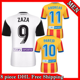 Wholesale Valencia Football - Valencia football jersey 2017-18 Valencia football home and away Parejosa Simone Zaza Pereira Nacho Vidal football shirt