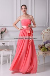 Wholesale Watermelon Prom Dress Color - Cheap Watermelon Chiffon A Line Strapless Zipper Floor Length Sleeveless Prom Gowns Country Bridesmaid Dresses 2017 Long Maid of Honor Dress