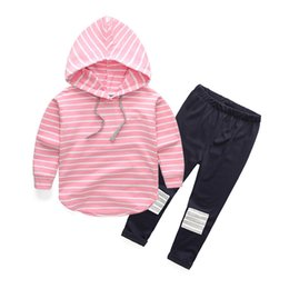 Wholesale Leopard Patches - Baby Clothes Set Autumn Spring Girl Boys Cotton Stripe Hoodie Tops+Patch Pants Outfits 2 PCS Sets 2 Colors