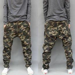 Wholesale Hanging Pants Men - New army fashion hanging crotch jogger pants patchwork harem pants men crotch big Camouflage pants trousers HOT