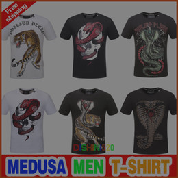 Wholesale Beads Embroidery Clothes - Newest Skull brand German Men shirt Best quality Italy high-end designer clothing shape perfect Asian Medusa men's T-shirt code size M--3XL