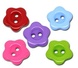 Wholesale Plastic Flower Jewellery - 50Pcs Mixed Resin Flower 14mm Plastic 2 Holes Buttons, for Sewing, Scrapbooking,Crafts, Jewellery making, Knitting DIY 4Z048