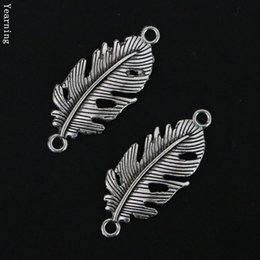 Wholesale Silver Leaf Connector - Jewelry Findings Vintage Silver Alloy Leaf Connector Charms Fit Nacklace Bracelet 33*13MM 50pcs lot