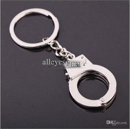 Wholesale Mini Handcuffs - Wholesale-New arrival handcuffing style handcuff keychain key chains full metal key chain mini logo