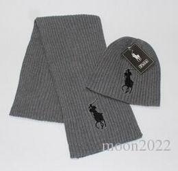 Wholesale Girls Skull Scarf - Top Unisex Winter 2 pcs set 1 hat + 1 scarf hot brand polo women beanies pom-pom skull caps hats Scarves Sets