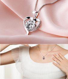 zircão de jóias de cristal coreano Desconto 30% 925 jóias de prata esterlina moda feminina adorável coração zircão pingente de cristal colar de jóias por atacado coreano item