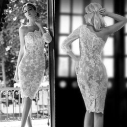 Wholesale Classic Women Dresses For Wedding - Sexy 2015 One Shoulder Long Sleeve Beach Wedding Cocktail Dress Lace Appliques Short Mini Cheap Sheath Prom Party Dresses For Women