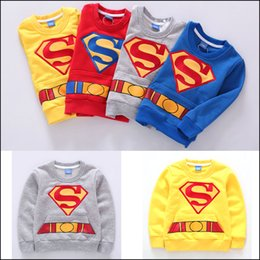 Wholesale Kids Superman Winter Coats - kids Autumn winter coat Superman printed Hoodies children's fashion cartoon sports clothes boys Clothing free shipping MOQ:200pcs SVS0447#