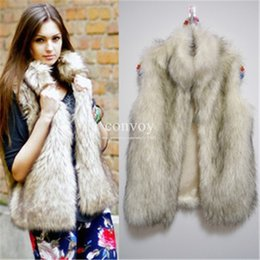 Wholesale Women Black Fur Vest - Womens Faux Fur Vest Autumn Winter Warm Jacket Top Winter wear Waistcoat Vest Coats Wrap sleeveless Jacket Coat Fashion Women Clothes WT21