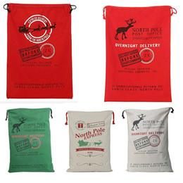 Wholesale Outdoor Reindeer Decorations - 20PCS Christmas Gift Bag Large Organic Heavy Canvas Bag Santa Sack Drawstring Bag With Reindeers Santa Claus Sack Bags for Christmas