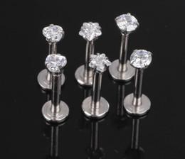 Wholesale Threading Earrings - 1.2x8x3mm 16G Silver Internally Threaded Prong Gem Labret lip piercing Zircon labret ring Tragus Earring