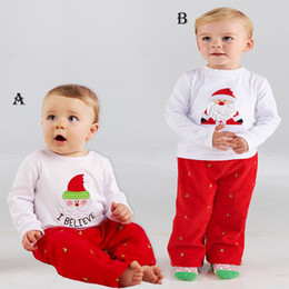 Wholesale Outfits For Baby Boys - SamgamiBaby Christmas long sleeve Santa Claus Cotton t-shirt + pant with christmas tree Embroidery outfits in stock Spring Autumn for Baby