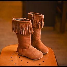 Wholesale Genuine Leather Tassel Boot - Retail 2016 kids genuine real cow leather boot tassel shoes thick girl fleece shoes children kids fashion knee high boots teenager winter
