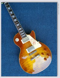 Wholesale Tiger 1959 - Tiger Flame Maple Top Custom Shop Brown Standard Mahogany Body 1959 R9 Electric Guitar Free Shipping