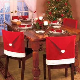 Wholesale Tables Chairs For Wholesale - christmas Chair Covers Santa Clause Red Hat for Dinner Decor Home Decorations Ornaments Supplies Dinner Table Party Decor 1000pcs