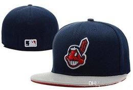 Wholesale Sweat Sport - MLB Cleveland Indians Baseball Cap Front Logo Alternate Fitted Hat wicks away sweat Adult Sport Fit Cap
