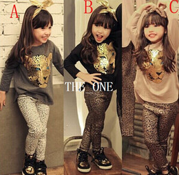 Wholesale Wholesale Cartoon Leggings - 2pcs set children clothing set girls children leopard suit kids head leopard cartoon full suit children' clothing girl leopard leggings