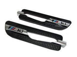Wholesale Chrome Grille - CrazyTheGod E46 E90 E91 E92 E93 M3 Sticker Side Fender Vent Grille CHROME BLACK for BMW