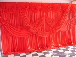 Wholesale Wine Red Curtains - 2015 New Designed Fabric Satin Drape Curtain Wedding Backdrop Canopy Ribbon Wine Party Stage Celebration Favors free shipping