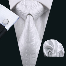 Wholesale Ties White Men Jacquard - Classic White Tie Set for Men Hankerchief Cufflinks Silk Jacquard Woven Business Formal Necktie 8.5cm Width Casual Set N-0643