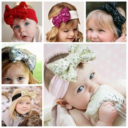 Wholesale Big Bow Hairband - Girl Hair Accessories Sequined Big Bows Baby Headbands Twist knot Head Wrap Soft Cotton Hairband Infant Toddler Christmas Gift Hot Sale