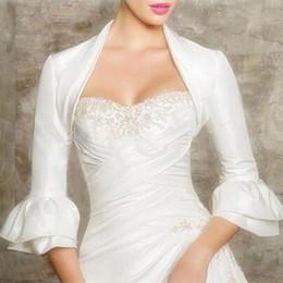Wholesale Sleeve Satin Bridal Bolero Ivory - 2015 Fashion Long Sleeve Bridal Jacket Pleated Charming Boleros Custom made
