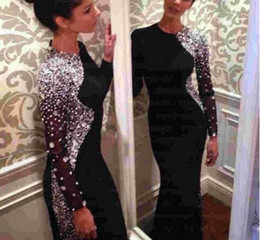 Wholesale Long Evening Beaded Rhinestone Dress - 2017 Bling Bling Crystal Beaded Black Long Sleeve Sheath Evening Dresses Jewel Neck Sweep Train Muslim Prom Gowns Arabic Sparkly Rhinestones