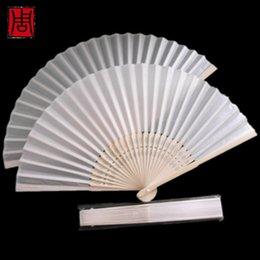 Wholesale Wholesale Order Party Favors - Free shipping,Wholesale 50pcs lot White Folding Elegant Silk Hand Fan with Gift bag Wedding&Party Favors Gift 38*21cm order<$15 no tracking