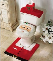 Wholesale Tissue Low - Santa Claus Toilet Seat Cushion Chamber Pot Covers Bathroom Closestool Floor Mat Tissue Cover Sets Christmas Decoration 50 Sets Prcie Lowest