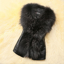 Wholesale fur vest gilet - Wholesale-Women Faux Fur Leather Vest Outerwear Coat Jacket Waistcoat Fur Collar Gilet Hot Sale