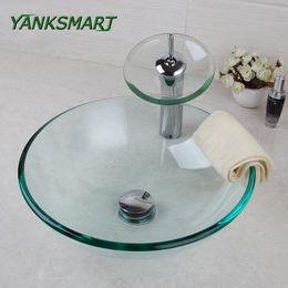 Wholesale Transparent Glass Sink - YANKSMART UK Round Transparent Washroom Basin Vessel Vanity Sink Bathroom Mixer Tempered Glass Washbasin Faucet Set w  Drain