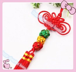 Wholesale Ball Room Dancing - 10pcs lucky ball PendanTraditional Cute Chinese Knots Pretty Lucky Car Hanging Accessories DIY Weaving Craft Pendant Interior Decorations