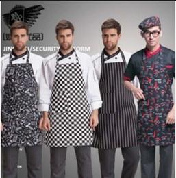 Wholesale Black Chefs Apron - Stylish Adult Mens Black Stripe Bib Apron with Pocket Chef Cafe Commercial Restaurant Uniform Chef Kitchen Work Clothing