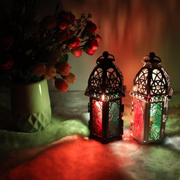 2019 lanterne in vetro di ferro Candeliere classico stile marocchino 8.3 * 7.2 * 16.5CM Votive Ferro Candelabro in vetro Candela Lanterna Casa Decorazione di nozze sconti lanterne in vetro di ferro