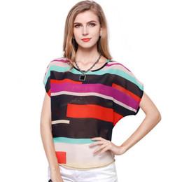 Colorful Stripe Chiffon Blouse Bat Shirt Women Summer Casual Tops Plus Size  Women Clothing Short Sleeve Office Lady 72d3351740b3