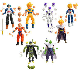 Wholesale Dragonball Figures - Wholesale-8pcs Dragonball Z Dragon ball can face transplant and palm DBZ Goku Piccolo Model Toys Assembly Toys Compatible Action Figure toy