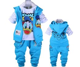 Wholesale Donald Duck Suit - Free shipping baby Donald Duck Baby clothing boys and girl Set sport Suit 3Pcs vest+T-Shirt+Pants baby Summer Sets baby clothing