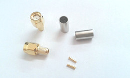 Wholesale Gold Crimps - adapter Gold plated RP-SMA male plug jack crimp for RG58 RG142 LMR195 RF