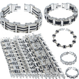 Wholesale Silicone Rubber Wristband Cuff Bracelet - 16 Styles Mens Chain Link Wristband Bangle Cuff Stainless Steel Rubber Bracelet Silver Tone Men Jewelry Wholesale Free Ship