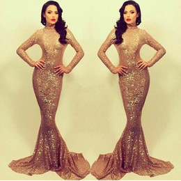 Wholesale Vintage Fishtail Dresses - Bling Sequins Fashion High Neck Prom Dresses 2018 Trumpet Long Sleeves Evening Gowns Fishtail Train Sexy Celebrity Occasion Dresses