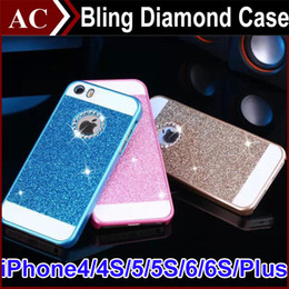 Wholesale Case Pink Iphone 4s Luxury - Luxury Bling Crystal Diamond Case For iPhone 4 4S 5 5S 6 6S Plus Glitter Acrylic PC Hard Back Cover Skin Opp Bag