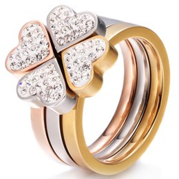 Wholesale 3in1 Ring - Wholesale- 316L Stainless Steel Jewelry Unique 3in1 Heart Rings For Women Surgical Steel Nickle Free CZ Crystal Flower rings