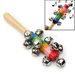 Wholesale Pram Gifts - Wholesale-Newest Baby Rainbow Pram Crib Handle Wooden Bell Stick Shaker Rattle Toy Gift