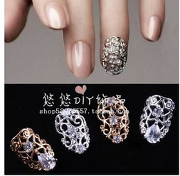 Wholesale Designs Nails Flowers - 10pcs optional 3D Shiny Nail Alloy Rhinestone Metal nail Art Tip zircon Design Glitters Decoration